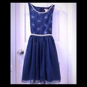 NWOT Nanette Lepore Navy White Tulle Dress Girl 14
